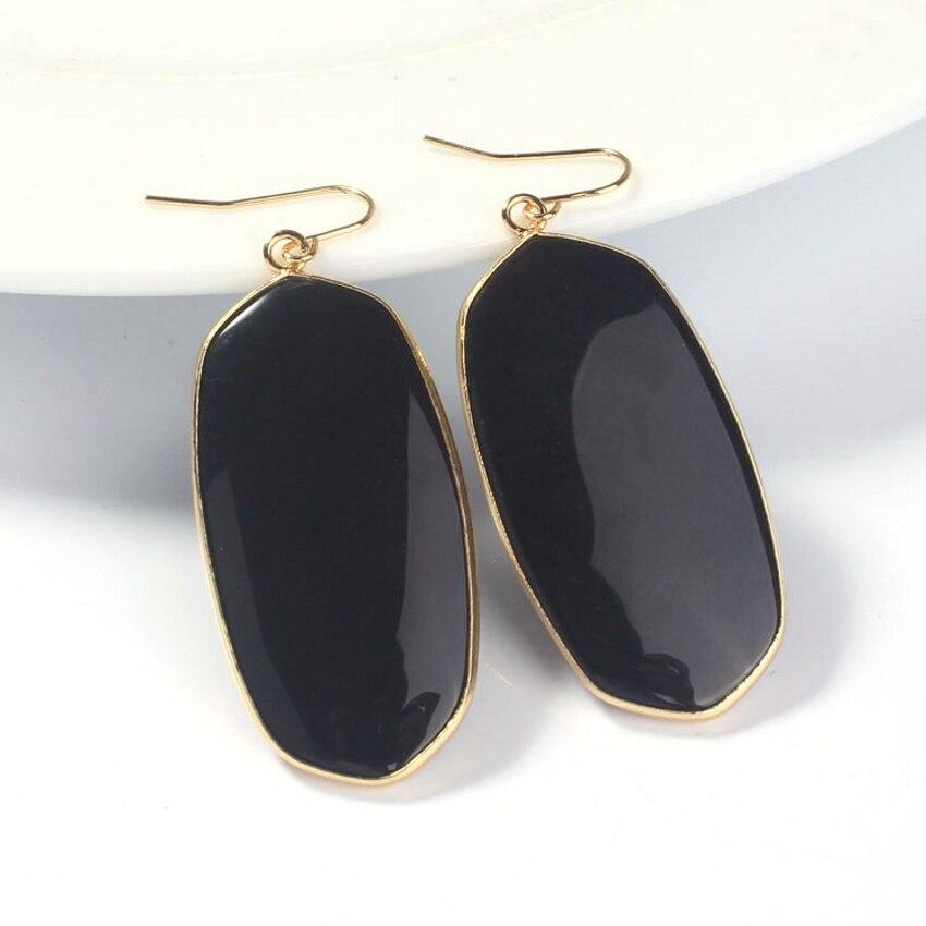 3156de659875 Kraft-luz oro amarillo color elegante negro ágatas cuarzo Pendientes oval  cuelgan Pendientes para las mujeres moda joyería
