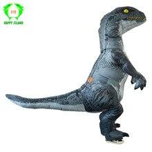 الكبار هالوين نفخ T ريكس رابتور زي ديناصور تأثيري فيلوسيرابتور أنيمي ملابس تنكرية للهالوين زي للنساء الرجال