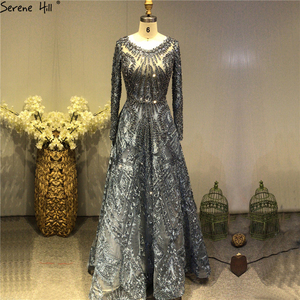 Image 2 - Dubai Luxury Long Sleeves Prom Dresses 2020 Latest Design Navy Blue O Neck Crystal Prom Gowns Serene Hill Plus Size BLA60900