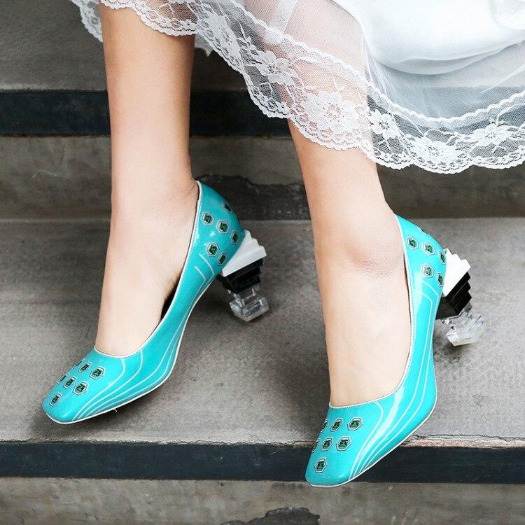 As Caramelo Cuero Impreso Tacones as Tacón Extraño Mixto Alto Color Pic Bombas Punta Lucency Transparente Chica De Pic Zapatos Mujer Escalera Cuadrada C0w7zqYUx