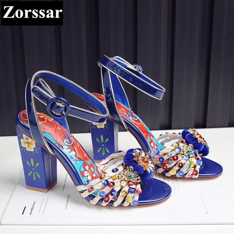 2017 NEW Summer Womens shoes peep toe flowers High heels sandals Women wedding shoes Fashion Print Ethnic style woman shoes plus size 2017 new summer suede women shoes pointed toe high heels sandals woman work shoes fashion flowers womens heels pumps