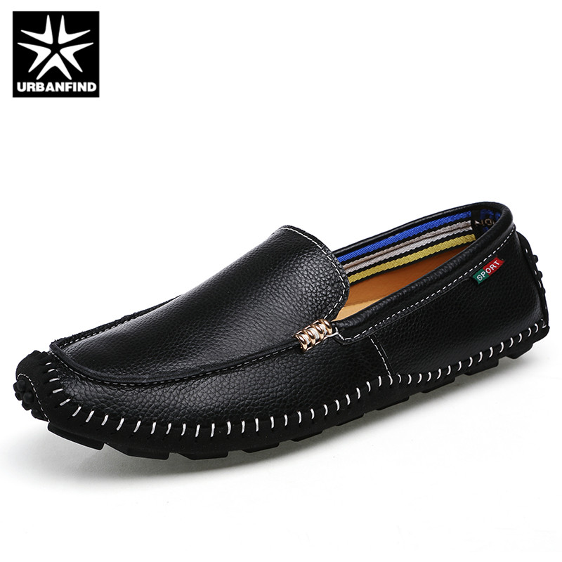 URBANFIND Men Brand Leather Loafers Moccasins Big Size 38-47 New Fashion Man Slip On Casual Flats Driving Shoes