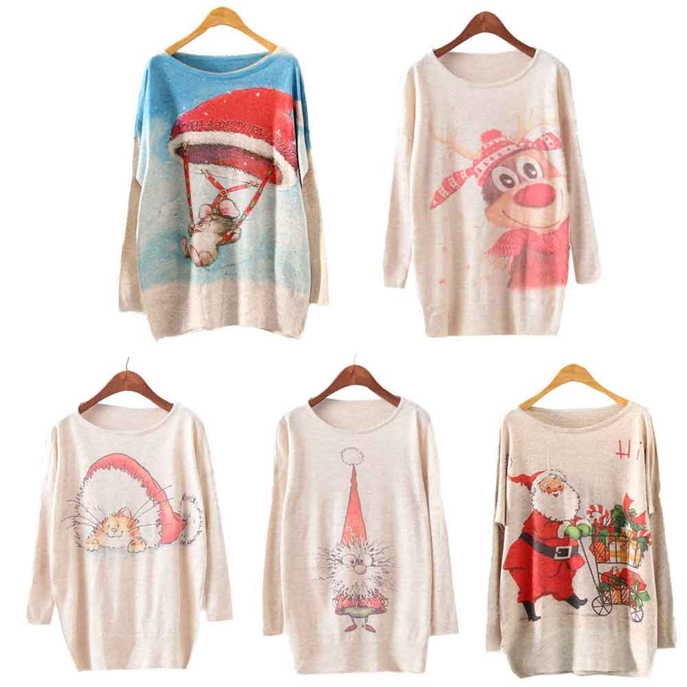 Womens Christmas Batwing Sweater Long Sleeve Color Loose Knit Sweater Knitwear Tops Loose Elegant Casual Comfortable Tops Gift