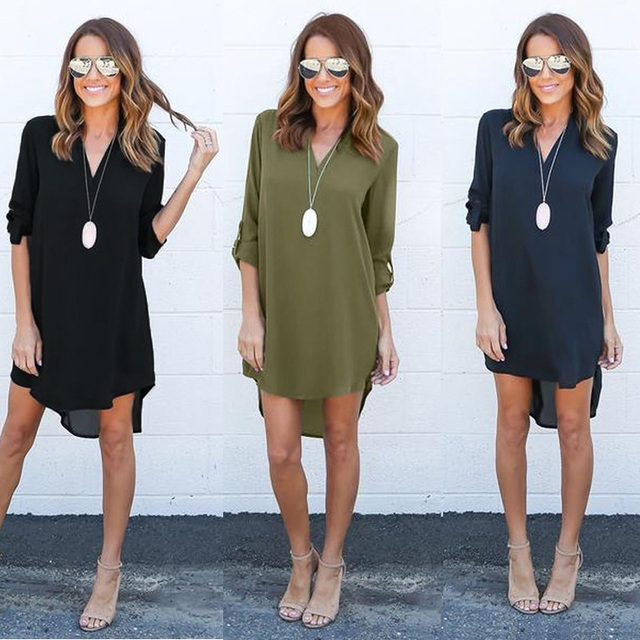889a512fe43 SHIBEVER Summer Women Dress Casual Chiffon Shirt Dresses Long Sleeve Mini  Sexy Beach Spring Ladies Dress Waist Vestidos ALD602
