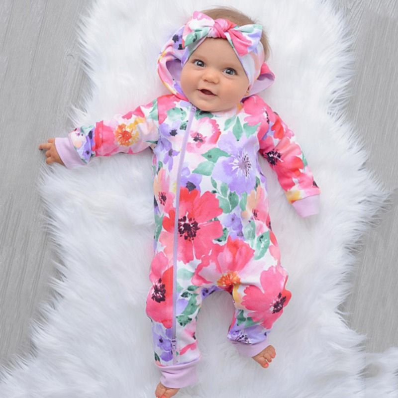 Baby   Romper   Jumpsuits For Girls Clothes Spring Long Sleeve Girls   Rompers   Print Flowers Hooded Zip Baby   Rompers   Girl Hairband