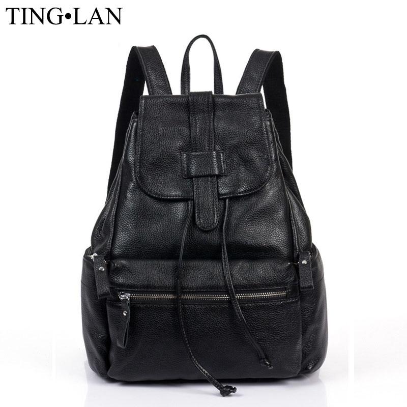 Women Backpacks Genuine Leather Brand Designer Cowhide Backpacks For  Teenagers Girls School Bag Ladies Travel Bag Mochilas Black 297aee19b2
