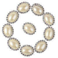 New Free Shipping High Quality Clothes Accessories Charming Oval Rhinestone Sewing Craft Button Pearl Color
