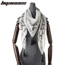 [BQACCES] Black White Geometric Print Cotton Square Scarf with Tassel Women Thin Voile Scarves Fashion Bandana Shawl 120*120cm