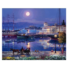 RIHE Night Harbor Diy Painting By Numbers Moon Carriage Oil On Canvas Hand Painted Cuadros Decoracion Acrylic Paint Art