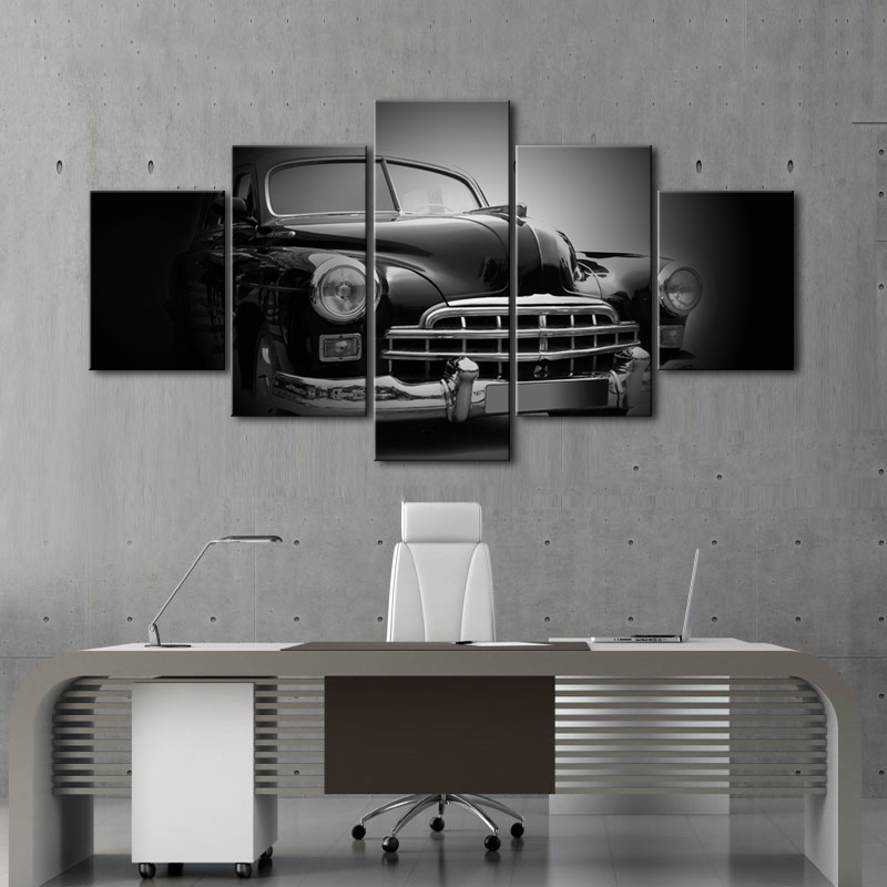 5 Piece Black and White Classic Car Canvas Art Painting Modern Car Poster Wall Art Still Life Artwork for Home Decor No Frame