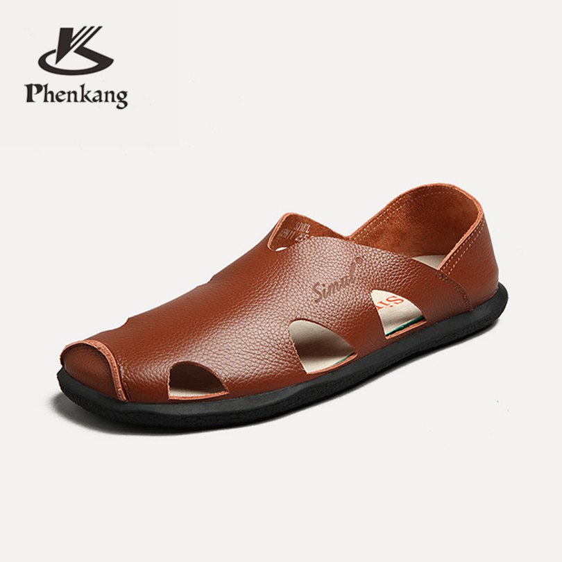 Men genuine leather summer casual sandals shoes brown black beach leather leisure plate personality Rome beach sandals Phenkang