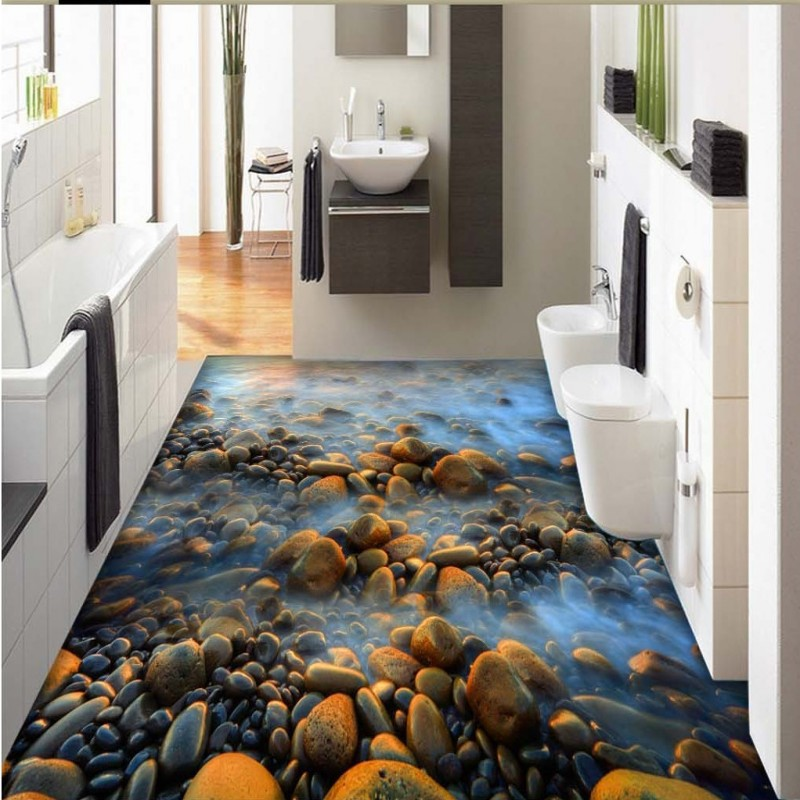 Free Shipping 3d Sea Water Pebble Stone Flooring Wallpaper Bathroom Office Living Room Self Adhesive