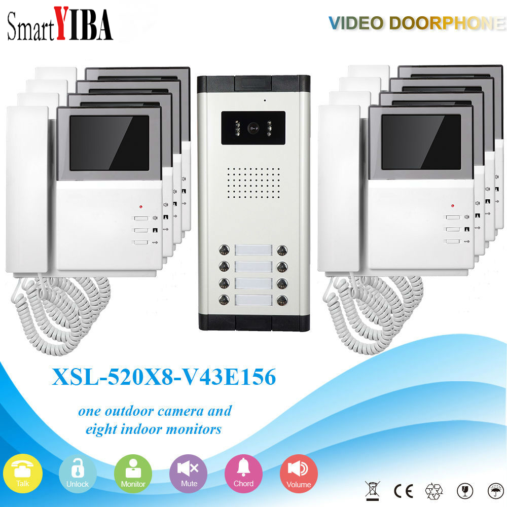 SmartYIBA Apartment Video Intercom 4.3 Inch Video Door Phone Doorbell Video Entry Intercom KIT Night Vision 1 Camera 8 Monitor