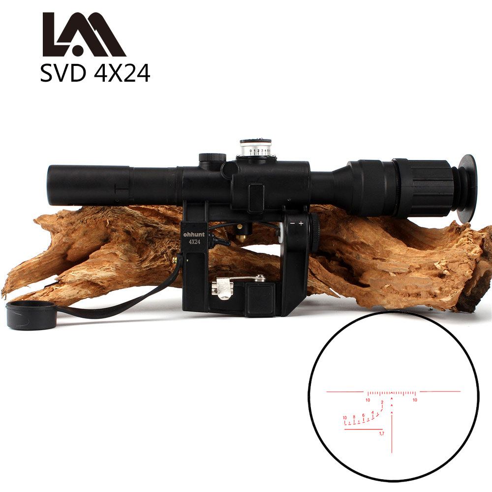Lambul Tactical Red Illuminated 4x24 PSO-1 Type Riflescope For Dragonov SVD Sniper Rifle Series AK Rifle Scope For Hunting