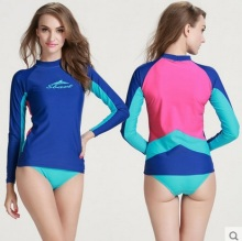 Women Swimming Long Sleeve T-Shirts Lycra Tops Snorkeling Wetsuit Swim Water Sport Surfing Beach BoardWear RashGuard Yoga Shirt