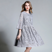 2016 high quality  autumn women's fashion lace embroidery a-line skirt cutout flare sleeve loose one-piece dress
