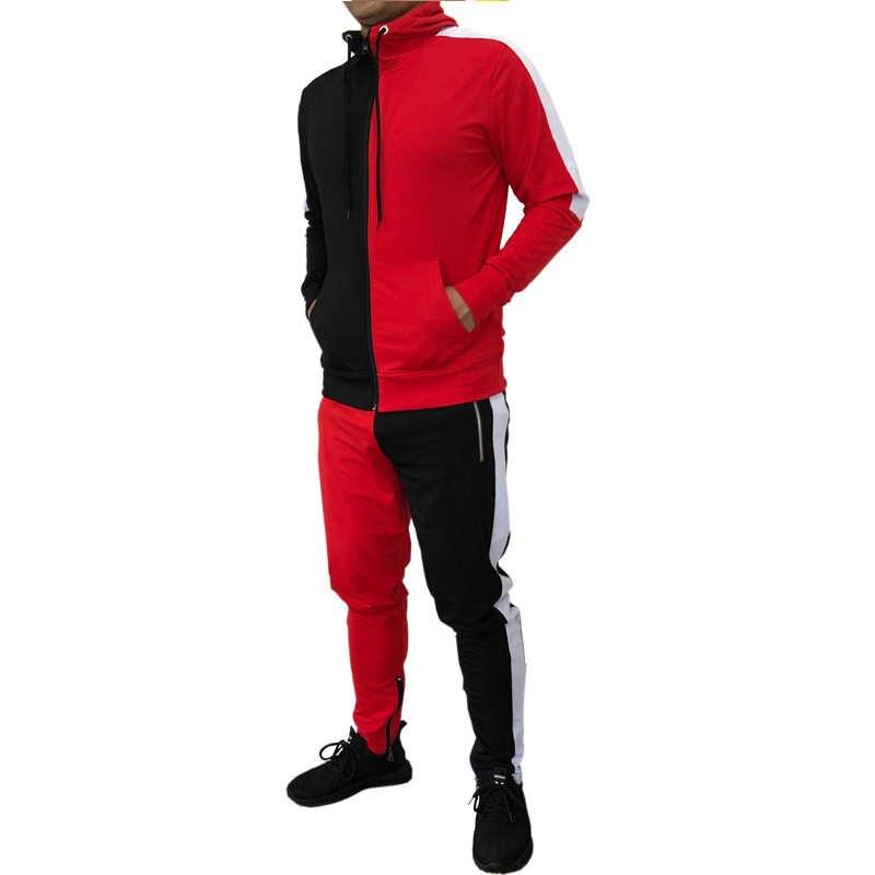 Pria Olahraga Dua Hoodies + Celana Olahraga 2019 Baru Musim Gugur Musim Dingin Kasual Patchwork Mengikuti Cocok untuk Jogging Gym Sport Set