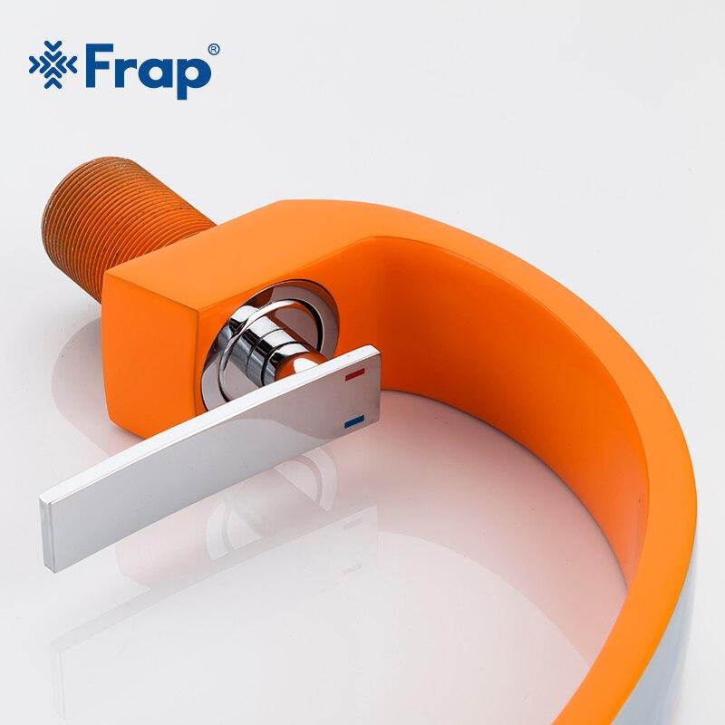 FRAP новые оранжевые краны для ванной комнаты, смеситель горячей и холодной воды, кран с одной ручкой, латунный кран для раковины, хромированн...