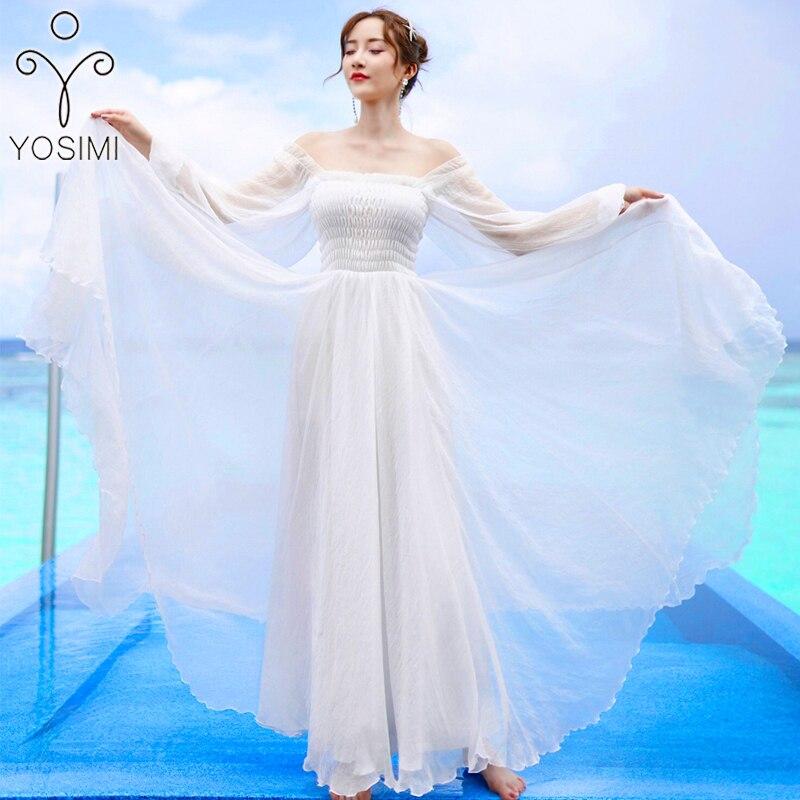 best website 550b2 342ad YOSIM Vestito Da Estate 2019 Vestito Lungo per le Donne Voile Bianco Abito  Tunica Da Sera Senza Spalline Partito Torta Femminile Vestido Manica Lunga