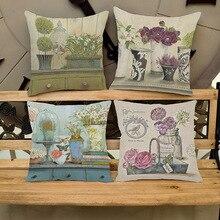 Vintage maceta planta y flores restaurante decoración funda de cojín para silla Retro estampado Floral asiento trasero funda de almohada