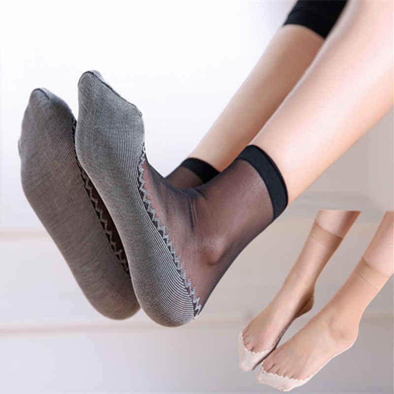 1 쌍 여성 울트라 얇은 탄성 부드러운 실크 양말 레이디 걸스 짧은 메쉬 깎아 지른 발목 높은 낮은 컷 양말 sokken 옷