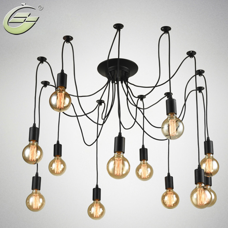 Vintage Multiple Adjustable Wire DIY Ceiling Spider Pendant Lighting ...