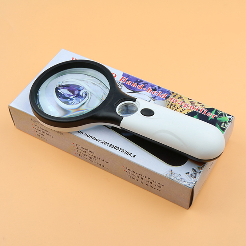 Magnifier 3 LED Light Nydoran 3X 45X Handheld Magnifier Reading Magnifying Glass Lens Jewelry Loupe White and Black in Magnifiers from Tools