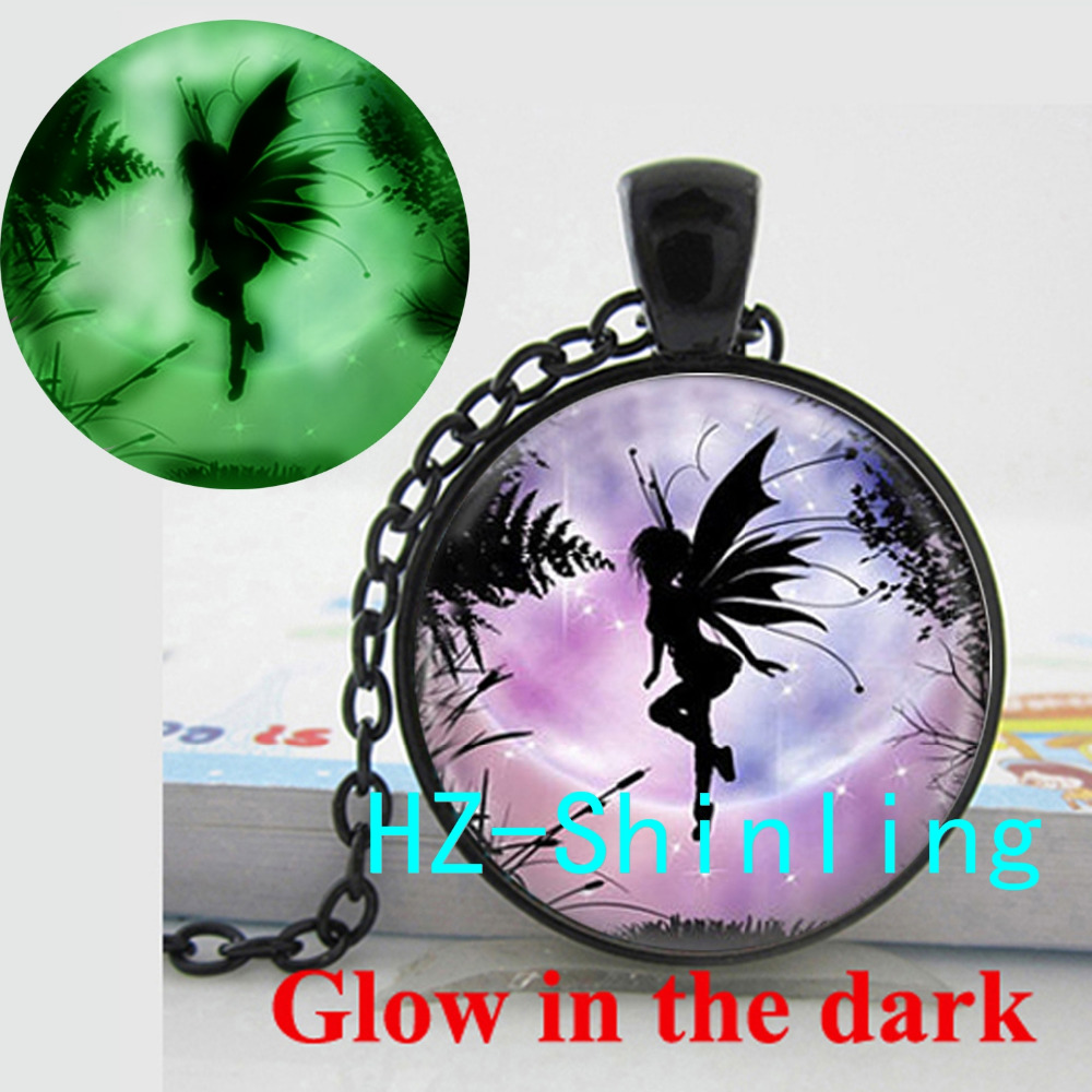 Glowing Jewelry Flying Fairy Necklace Winged Elves Pendant Glass Photo Jewelry Glow in The Dark Necklace