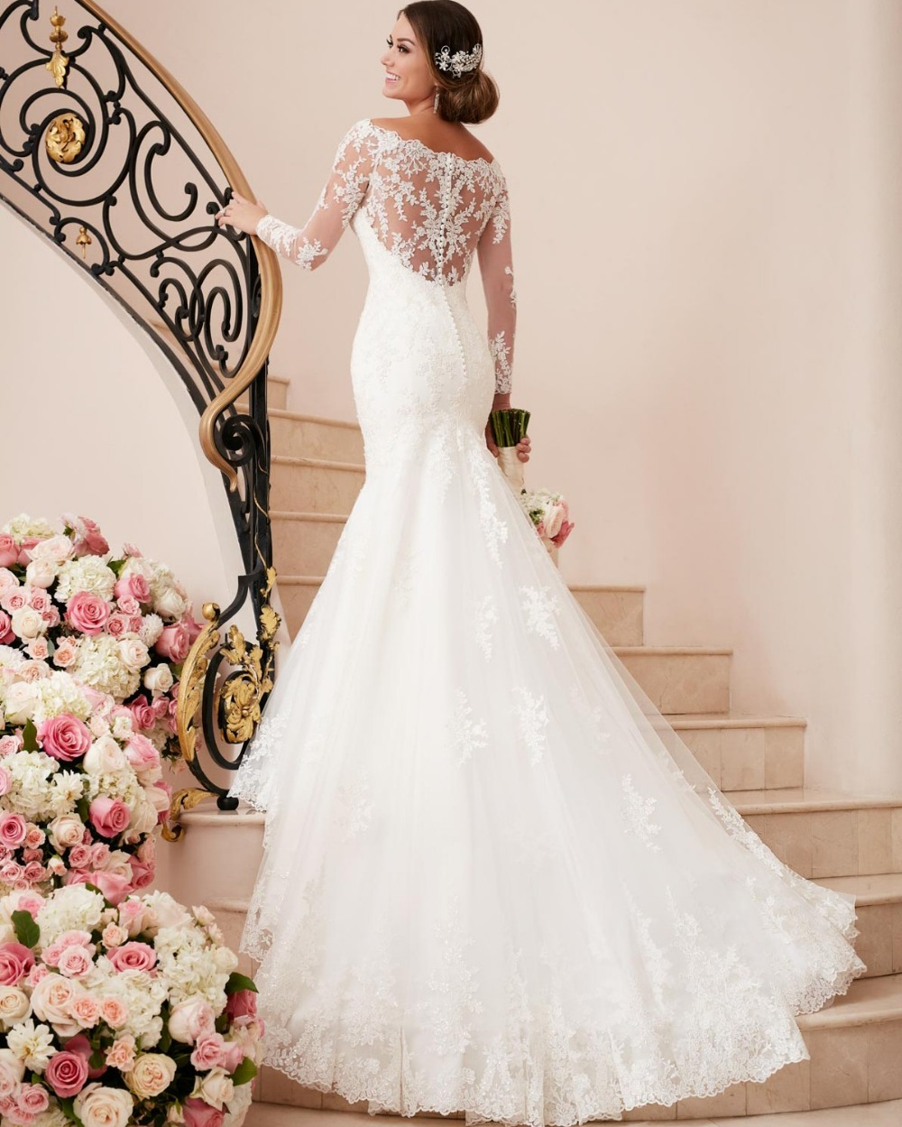 sexy mermaid wedding dresses Aliexpress com Buy PW New Vogue Fall Winter Tarik Ediz Sexy Mermaid Wedding Dress Lace Long Sleeves See Through Back Bridal Gown Custom from