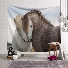 3D Running Horses Pattern Tapestry Tridimensional Wall Hanging Art Gobelin Lovers for Living Room Decorative Mural Bed Sheet