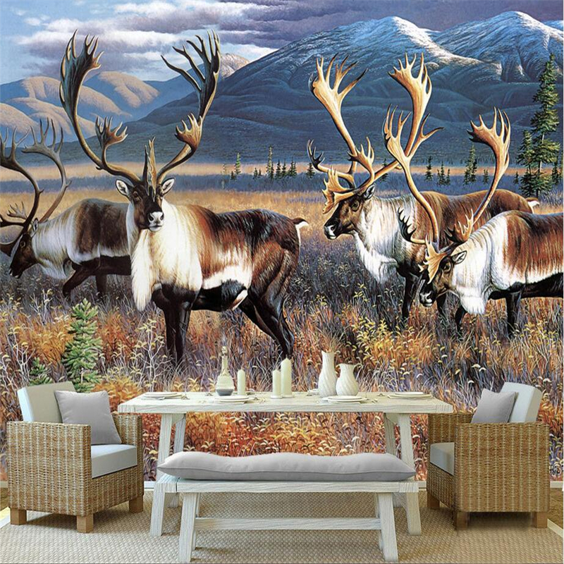 Modern Wallpaper-3d Background Large Oil Painting Elk Wall Murales De Pared Hotel Bedroom Wall Mural for Living Room Restaurant roman column elk large mural wallpaper living room bedroom wallpaper painting tv background wall 3d wallpaper for walls 3d