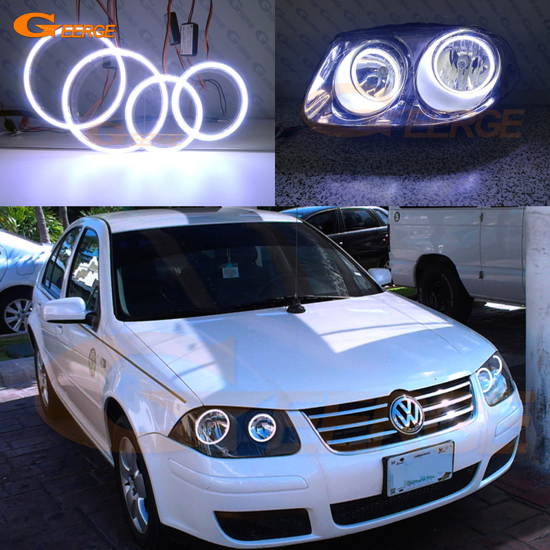 For Volkswagen VW Jetta City MK4 2007 2008 2009 Excellent Ultra bright illumination COB led angel eyes kit halo rings for alfa romeo 147 2005 2006 2007 2008 2009 2010 headlight ultra bright illumination cob led angel eyes kit halo rings