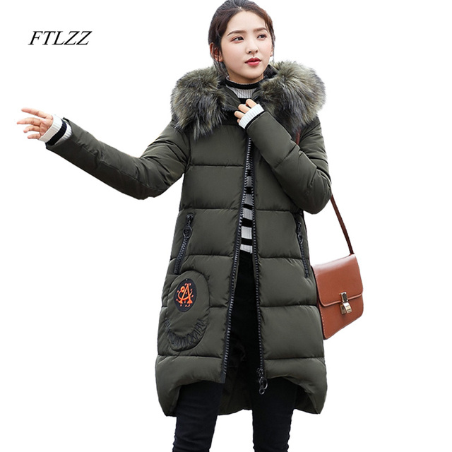 FTLZZ New 2017 Winter Women Wadded Jacket Fur Collar Hoooded Snow Parkas Medium Long Thickness Warm Padded Embroidery Overcoat