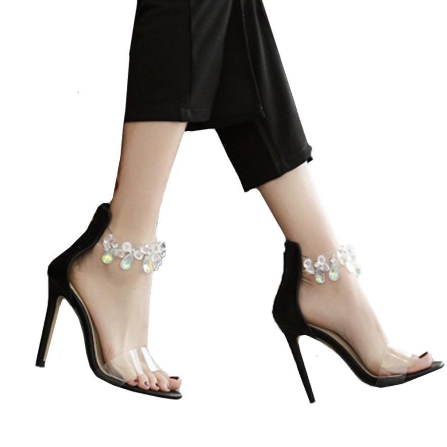 Abierta Punta De Transparentes Zapatos Zapatillas 16 Negro Moda Mujeres Las  Con Altos blanco Sandalias Tacón ... b7155f11910e