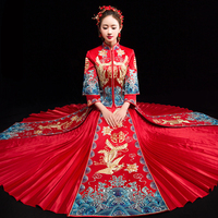 Bride Embroidery Cheongsam Vintage Chinese Style Wedding Dress Retro Toast Clothing Lady Phoenix Gown Marriage Qipao red Clothes