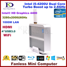 Новинка 2015 Intel i5-4200U двухъядерный Процессор крошечный компьютер, промышленный компьютер, 2 ГБ Оперативная память + 60 ГБ SSD, 3280*2000, Wi-Fi, USB 3.0, HDMI, 4 К