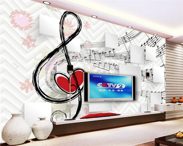 Beibehang Custom Personality 3D Wallpaper Notes Music Box TV Background Wall For Walls 3