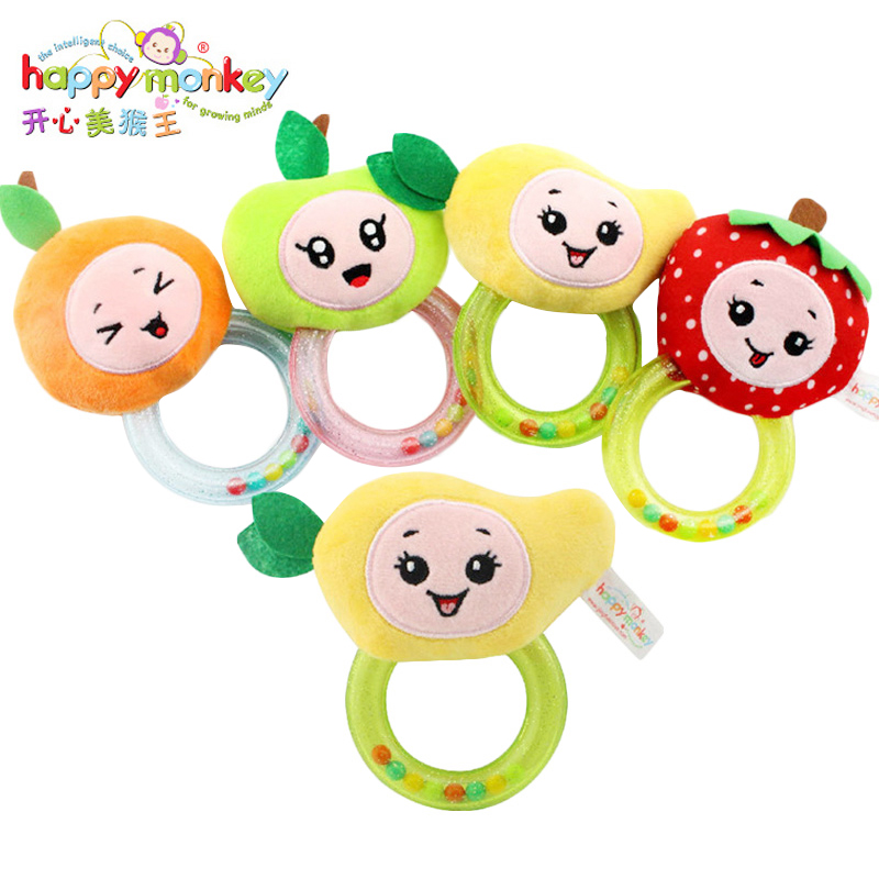 Happy Monkey Infant Animal Hand Bell Newborns Infants Educational Toys Ring Teethers Rattles Soft Musical Doll Baby Plush Toys