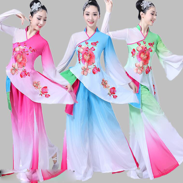Girls Folk Dance Outfits Yangko Classical Dance Fan Umbrella Dancewear Clothing Women Modern Dance Stagewear Dance Costume Suit