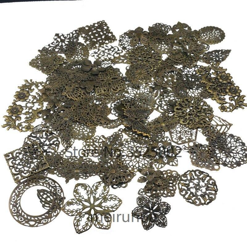 20pcs/lot  Mix  20Pcs Antique Bronze Mixed Metal Filigree Wraps Connectors Metal Crafts Gift Decoration DIY