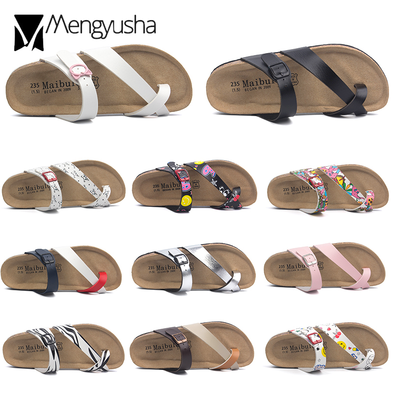 Flower Print Cork Sandals Women Clip Toe Slippers Narrow Band Flip Flops Lovers Platform Sandals Summer Beach Shoes Size 45 C455(China)