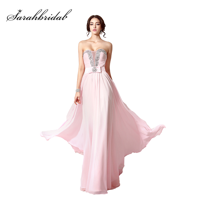Sexy Sweetheart Prom Dresses Beading Crystal Pink Chiffon Evening Dress 2019 Cheap Lace Up Back Ladies
