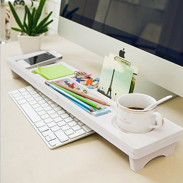 Multifunction Desktop Computer Keyboard Storage Shelf Wooden Plastic Pen Beads Home Decor Hanger