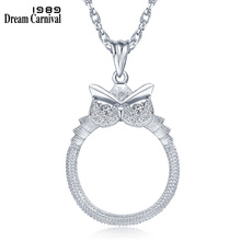 New !!! Women Fashion Owl Crytals Necklace 2x Reading Glass Pendant For Purpose Magnifying Cute Look 18K Gold Plated
