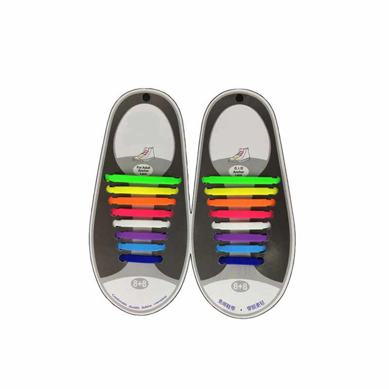 ใหม่ 16 ชิ้น/ล็อตซิลิโคนยืดหยุ่นสำหรับรองเท้าพิเศษไม่มี Tie Laces รองเท้าสำหรับผู้ชายผู้หญิง Lacing รองเท้าเชือกผูกรองเท้า