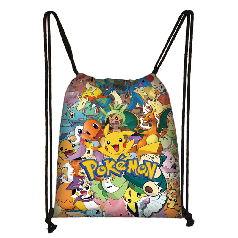 Pokemon Haunter Eevee Bulbasaur 3D Cartoon Drawstring Bag Backpack Daily Casual Boys Girls Knapsack Drawstring Bags