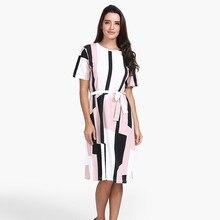 FeiTong O-neck short sleeve stripe print midi dress Elegant autumn women OL dress Sexy vintage vestidos Belt lace up dress 2018