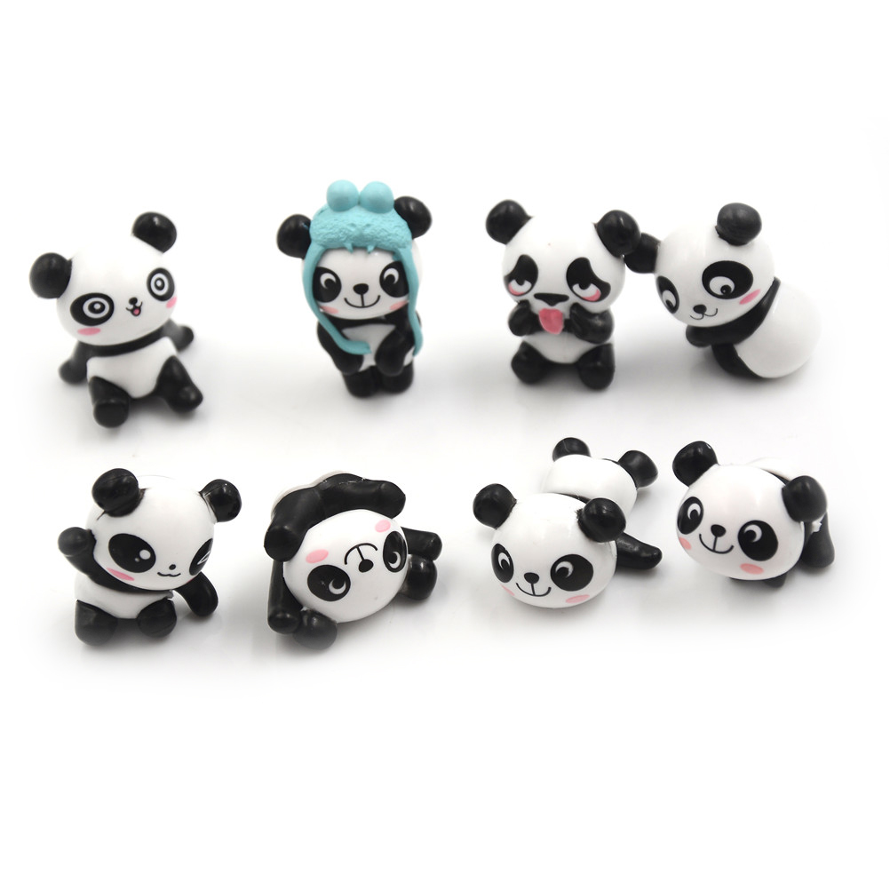 Mini PVC Action Figures Kawaii Panda Peripherals Set Toy Preschool Gift 8pcs/Set