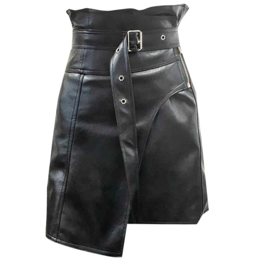 2018 autumn winter fashion Pu Leather Skirt women High Waist Irregular Skirts Women short skirt
