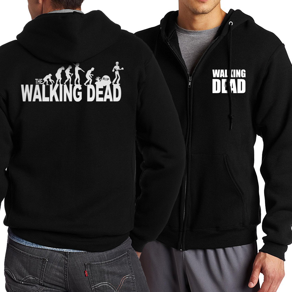 Hot Sale 2018 Spring Autumn Style The Walking Dead Zippered Hoodie Men Fashion Casual Sweatshirt Men Jacekt Loose Fit Sportswear